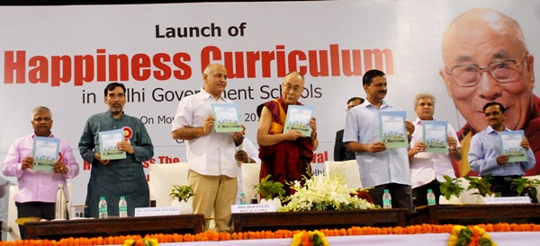 Launch of Happiness Curriculum at Thyagraj Sports Complex by his holiness Dalai Lama