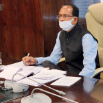 Madhya Pradesh chief minister Shivraj Singh Chouhan in the video-conferencing of Prime Minister Narendra Modi