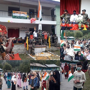 """75th  Independence Day, commemoration of""""Azadi Ka Amrit Mahotsav"""" was arranged with Flag Hoisting ceremony at Govermment Middle School, Melyal  kupwara  by 87 Bn BSF,"""
